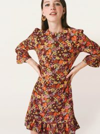 Nobodys Child Brown and Yellow Floral Fleur Mini Dress – retro flower prints