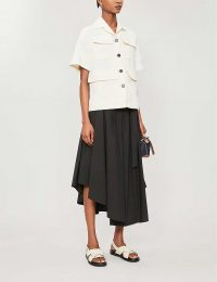 BRUNELLO CUCINELLI Asymmetric high-waisted cotton midi skirt in black