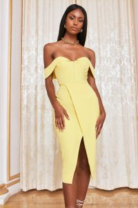 LAVISH ALICE bustier corset wrap midi dress in lemon yellow – fitted off the shoulder dresses