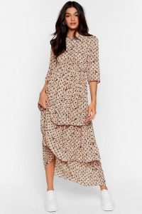 NASTY GAL Call the Spots Tiered Maxi Dress in Cream