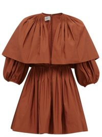 VALENTINO Caped V-neck pleated cotton-blend mini dress in rust brown