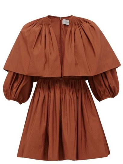 VALENTINO Caped V-neck pleated cotton-blend mini dress in rust brown - flipped