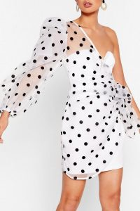 NASTY GAL Catch a Chill Organza Mini Dress in White – semi sheer one shoulder dresses