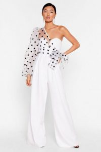 NASTY GAL Catch a Chill Organza Polka Dot Jumpsuit in White – one shoulder jumpsuits
