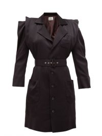 VIVIENNE WESTWOOD Cath belted black-satin dress ~ exaggerated shoulders ~ structured designs