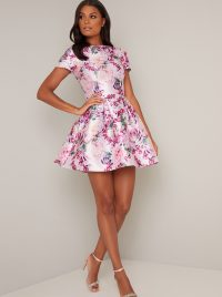 Chi Chi Ashby Dress in Mink – floral fit and flare