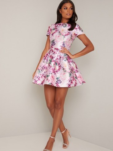 Chi Chi Ashby Dress in Mink – floral fit and flare - flipped