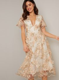 Chi Chi Betty Dress in Champagne – floral overlay dresses