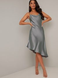 Chi Chi Camille Dress in Green – asymmetric slip dresses