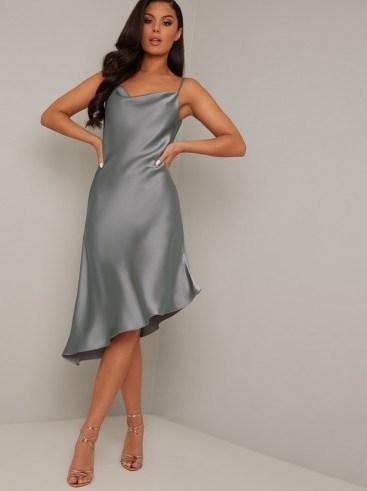 Chi Chi Camille Dress in Green – asymmetric slip dresses - flipped