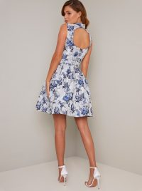 Chi Chi Elowen Dress in Blue – open back fit and flare