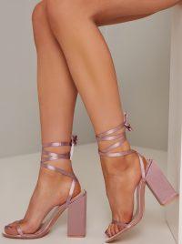 Chi Chi Frankie Heels in Pink – strappy block heel sandals