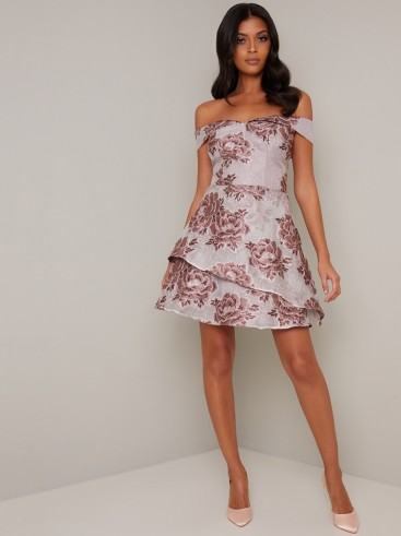 Chi Chi Freja Dress in Lilac – off the shoulder party dresses