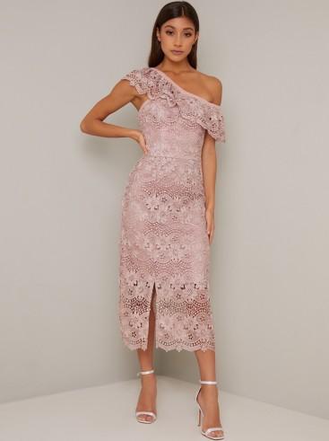 Chi Chi Kellen Dress in Mink – off shoulder lace dresses
