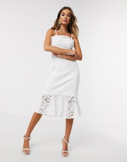 Chi Chi London lace pephem pencil dress in white – detachable shoulder strap dresses – bandeau style - flipped