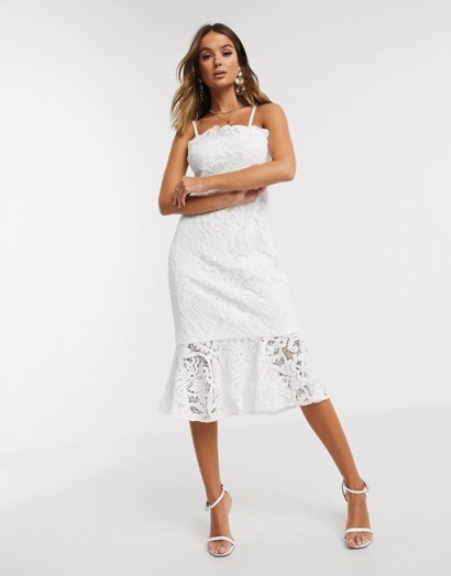 Chi Chi London lace pephem pencil dress in white – detachable shoulder strap dresses – bandeau style