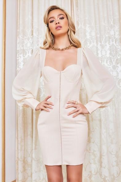 LAVISH ALICE chiffon mix blouson corset mini dress in champagne – balloon sleeve dresses