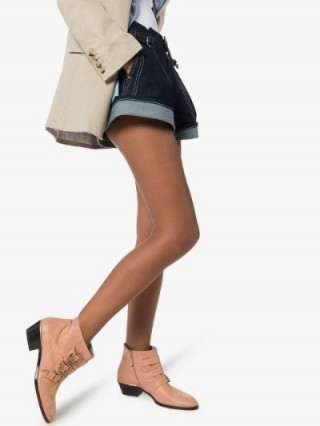 Chloé Pink Susanna Buckle 30 Leather Ankle Boots / luxe buckled booties
