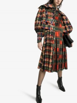 Chopova Lowena Check Print Kilt Midi Dress / tartan prints - flipped