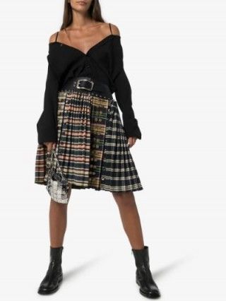 Chopova Lowena Studded Check Print Pleated Skirt