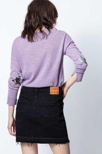 Zadig & Voltaire CICI PATCH CACHEMIRE SWEATER in Purple – cashmere crewneck