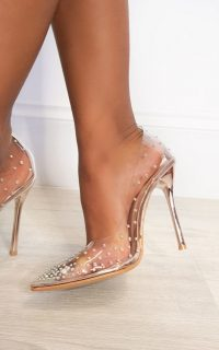 IKRUSH Cindy Embellished Perspex Pointed Court Heels in Champagne | clear courts