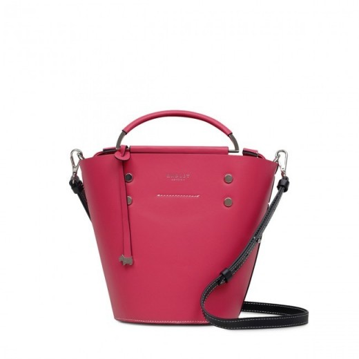 RADLEY LONDON COLOUR BLOCK SMALL DRAWSTRING BUCKET BAG in FUCHSIA PINK