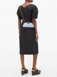 MARNI Colour-block leather cross-body bag in pastel-blue and terracotta-brown | designer crossbody