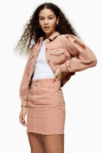 Topshop CONSIDERED Apricot Denim Button Front Skirt | frayed hem skirts
