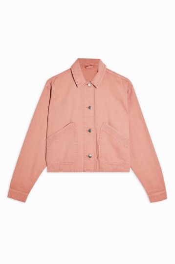 TOPSHOP CONSIDERED Pink Boxy Crop Shacket