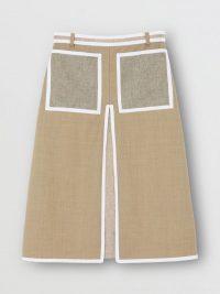 Burberry Contrast Seam and Box-pleat Detail Linen A-line Skirt Cedar Brown Melange