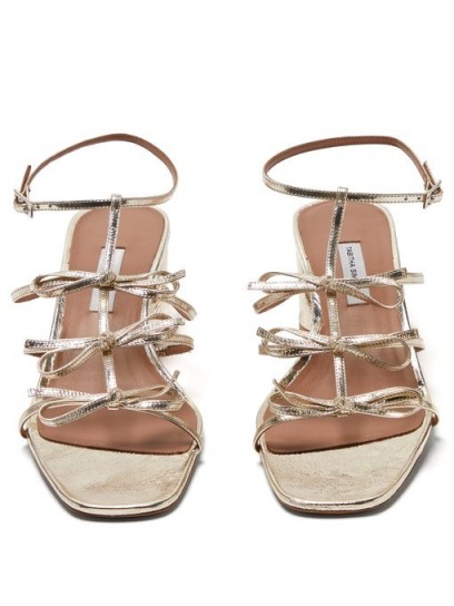 TABITHA SIMMONS Covie bow-embellished metallic-leather sandals in gold