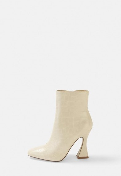 MISSGUIDED cream croc feature heel boots - flipped