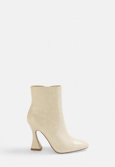 MISSGUIDED cream croc feature heel boots