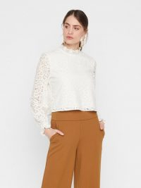 YAS CROPPED LACE BLOUSE White / Star White – high neck ruffle-trim blouses