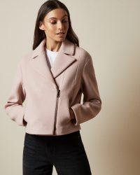 TED BAKER ASINATA Cropped wool blend biker jacket in dusky pink