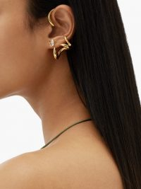 RYAN STORER Crystal & 14kt gold-plated ear cuffs and earrings