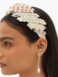 GERMANIER Crystal and faux pearl-embellished headband