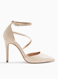 MISS SELFRIDGE CRYSTAL Gold Asymmetric Court Shoes