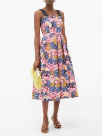 MARY KATRANTZOU Crystal rose-print crepe dress