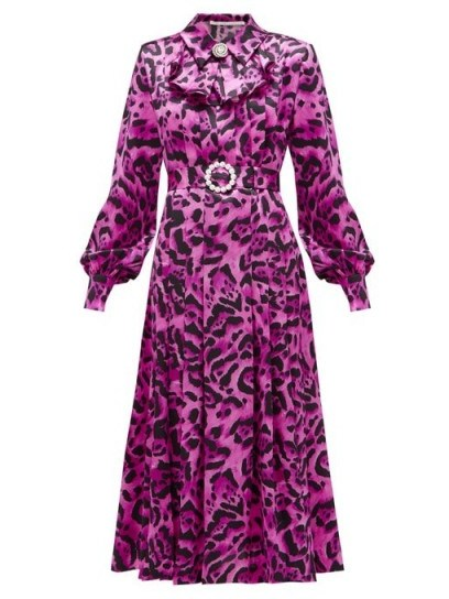 ALESSANDRA RICH Crystal-buckle leopard-print silk midi dress in fuchsia pink - flipped