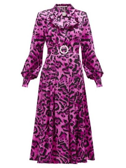 ALESSANDRA RICH Crystal-buckle leopard-print silk midi dress in fuchsia pink