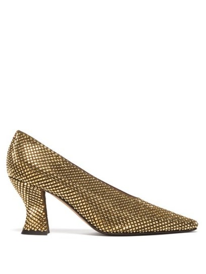 BOTTEGA VENETA Gold crystal-embellished suede pumps ~ chunky courts covered in crystals