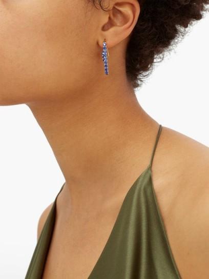 HILLIER BARTLEY Blue crystal-pavé paperclip single earring / single drop earrings