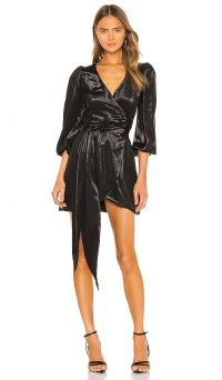 Cynthia Rowley Lame Mini Wrap Dress in Black – metallic dresses