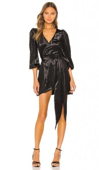 Cynthia Rowley Lame Mini Wrap Dress in Black – metallic dresses - flipped
