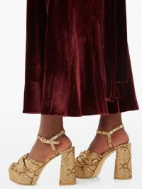 GIANVITO ROSSI Dallas 70 knotted python-effect gold-leather sandals ~ luxe platforms