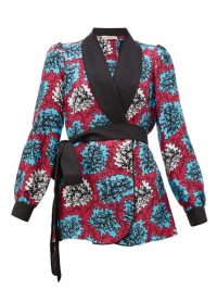 MARY KATRANTZOU Darcy coral-print silk-twill robe jacket