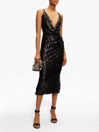 DOLCE & GABBANA Deep V-neck sequinned midi dress in black / cross back evening dresses