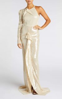 ROLAND MOURET DELAMERE GOWN in PALE GOLD ~ luxe event wear